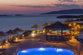 blue bay hotel in greece sunset